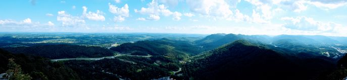 Panaroma of mountains and valleys taken in southeast kentucky. This picture looks out across the Cumberland Gap, with the right side being Kentucky and the Royalty Free Stock Images