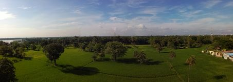Panaroma sky. Pure nature grenn field Royalty Free Stock Images
