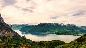 Panaromatic view on Traunsee in Gmunden, Austria. Panaromatic view on lake Traunsee in Gmunden, Austria Royalty Free Stock Photo