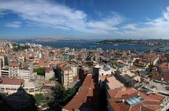 Panaromic Ansicht von Istanbul vom Galata Kontrollturm lizenzfreie stockfotografie