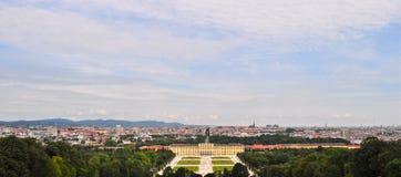 Panaromic-Ansicht von Schonbrunn-Palast Wien Österreich Stockfotografie