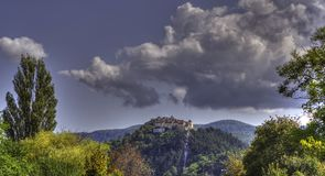 Panaromic RaÅŸnov citadell Arkivfoto