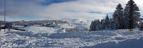 Panaromic scene in Winter and Snow Stock Photos