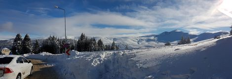 Panaromic scene in Winter and Snow Royalty Free Stock Photography
