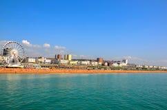 Panaromic sikt av Brighton Beach Royaltyfri Foto
