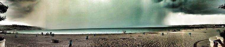 Panaromic view of clouds of marmara sea at istanbul, b.cekmece beach royalty free stock image