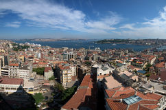 Panaromic view of Istanbul. Stitched Panorama of Istanbul Bosphorus and Golden Horn Royalty Free Stock Photos