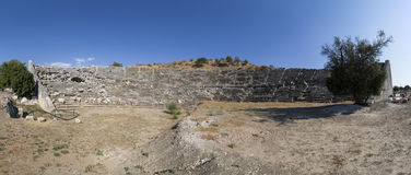 Panaromic view to amphitheater of Letoon ancient city in Mugla. Turkey Royalty Free Stock Image