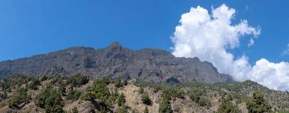 Panaromic vulcânico em Barranco de las Augustias, La Palma, Ilhas Canárias, Espanha imagem de stock