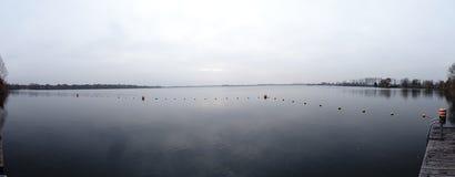 Panaromic widok jeziorny Ankeveense Plassen zdjęcia stock