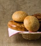 Panary rolls lie on a napkin in a basket Royalty Free Stock Images