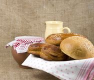 Panary rolls lie on a napkin in a basket Royalty Free Stock Image