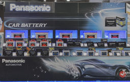 Panasonic company booth at CEE 2015, the largest electronics trade show in Ukraine Royalty Free Stock Photos