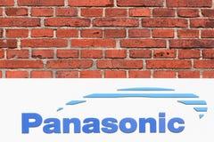 Panasonic logo på en vägg Arkivbilder