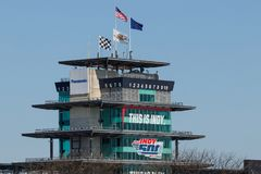 Indianapolis - Circa May 2018: Panasonic Pagoda at Indianapolis Motor Speedway. IMS Prepares for the 102nd Indy 500 IX. The Panasonic Pagoda flying the American stock photo