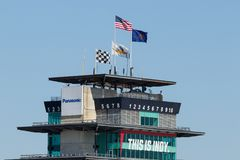 Indianapolis - Circa May 2018: Panasonic Pagoda at Indianapolis Motor Speedway. IMS Prepares for the 102nd Indy 500 XII. The Panasonic Pagoda flying the American royalty free stock images
