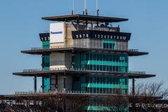 Indianapolis - Circa March 2018: The Panasonic Pagoda at Indianapolis Motor Speedway III. The Panasonic Pagoda at Indianapolis Motor Speedway. IMS Prepares for stock photos