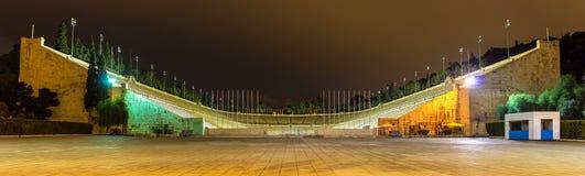 Panathenaic体育场在雅典在晚上 免版税库存图片