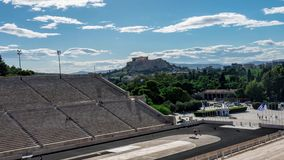 Panathenaic体育场时间间隔有上城视图 股票录像