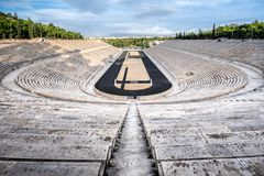 Panathenaic stadium in Athens, Greece hosted the first modern Olympic Games in 1896, also known as Kalimarmaro. Panathenaic stadium in Athens, Greece hosted the royalty free stock photos