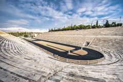 Panathenaic stadium in Athens, Greece hosted the first modern Olympic Games in 1896, also known as Kalimarmaro. Panathenaic stadium in Athens, Greece hosted the royalty free stock photography