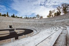 Panathenaic stadium in Athens, Greece hosted the first modern Olympic Games in 1896, also known as Kalimarmaro. Panathenaic stadium in Athens, Greece hosted the stock images