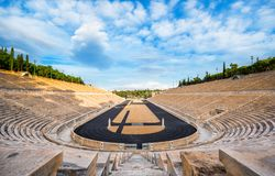 Panathenaic stadium in Athens, Greece hosted the first modern Olympic Games in 1896, also known as Kalimarmaro. Panathenaic stadium in Athens, Greece hosted the stock photo