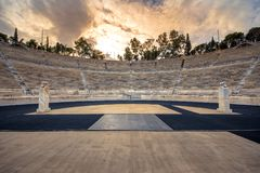 Panathenaic stadium in Athens, Greece hosted the first modern Olympic Games in 1896, also known as Kalimarmaro. Panathenaic stadium in Athens, Greece hosted the stock photography