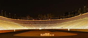 Panathenaic Stadium at night Royalty Free Stock Image