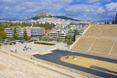Panathenaic stadium and Panorama of Athens , Greece Stock Photos