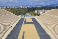 Panathenaic stadium and Panorama of Athens , Greece Royalty Free Stock Photo