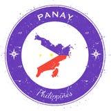 Panay circular patriotic badge. Grunge rubber stamp with island flag, map and name written along circle border, vector illustration Royalty Free Stock Photo