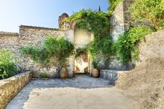Panayia Pantanassa monastery. The entrance of the monastery of Panayia Pantanassa at the historical site of Mystras, a Byzantine castle in Greece. The monastery Royalty Free Stock Photography