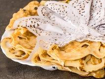 Pancackes openwork with white napkins. cook art Stock Photos