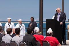 Pancadinha Quinn em USS Illinois que nomeia a cerimónia Fotografia de Stock