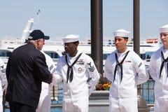 Pancadinha Quinn em USS Illinois que nomeia a cerimónia Foto de Stock