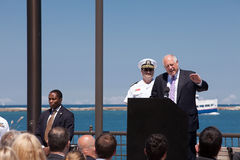 Pancadinha Quinn em USS Illinois que nomeia a cerimónia Fotografia de Stock Royalty Free