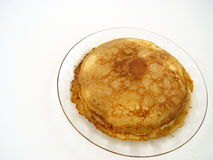 Pancake. Breakfast on clear glass plate stock photos