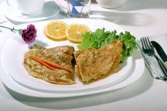 Pancake. Image of pancake with lemon Stock Photos