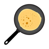 Pancake. Vector picture - frying pan with the pancake Royalty Free Stock Photography