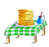 Pancake alla tavola Fotografie Stock Libere da Diritti