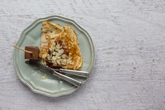Pancake with almonds and jam Royalty Free Stock Photos