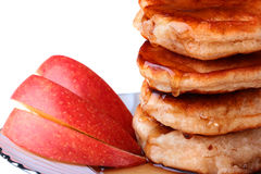 Pancake and apples Royalty Free Stock Images
