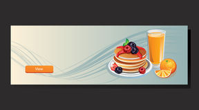 Pancake Banner. Banner with pancake, orange, orange juice, to set up breakfast or food theme Stock Photos