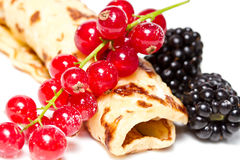 Pancake with berries Royalty Free Stock Images