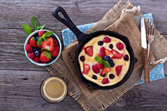 Pancake with berries fluffy and colorful Stock Photo
