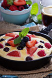 Pancake with berries fluffy and colorful Stock Photos
