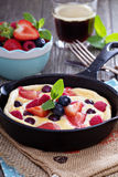 Pancake with berries fluffy and colorful Stock Images