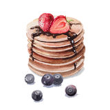 Pancake. With berries watercolor art Royalty Free Stock Image