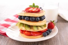 Pancake with berry. Close up on pancake with berry Royalty Free Stock Photo